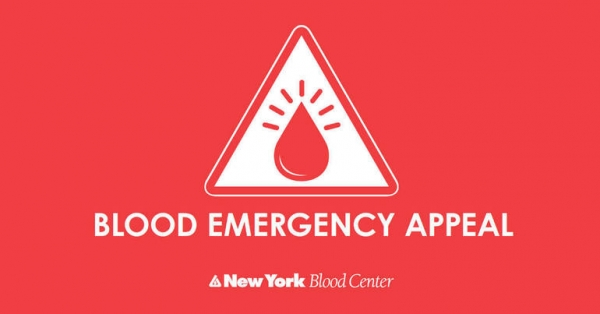 Urgent Call for Blood Donors issued by NY Blood Center
